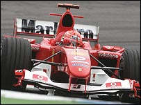 Michael Schumacher on his way to winning the German Grand Prix