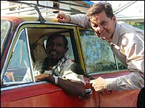 The BBC's Grant Ferret with taxi driver Abdi
