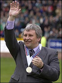 Paul Sturrock celebrates winning the Division Three title with Plymouth