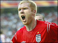 Paul Scholes in action for England