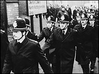 police at Ollerton colliery, Nottinghamshire