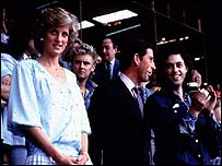 Geldof (right) with Prince Charles and Princess Diana at Live Aid