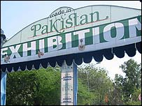 A sign at the Made in Pakistan trade show in Delhi