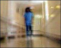 Image of a patient in a corridor
