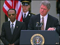 President Aristide (left) and President Clinton (right) in 1994