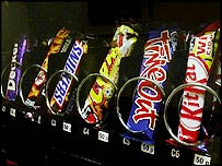 Chocolate bars in a vending machine