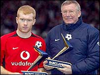 Paul Scholes (left) with Manchester United manager Sir Alex Ferguson