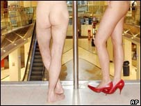 Naked shoppers in London