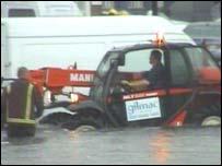 Flooded London street