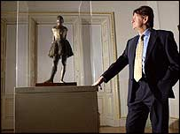 John Madejski with the Degas bronze sculpture