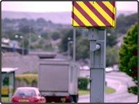 A highly visible speed camera on Tavistock Road, Plymouth