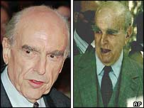 Andreas Papandreou, left,  in 1993 and Konstantine Karamanlis in 1995