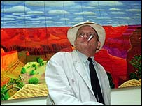 David Hockney with his Grand Canyon painting in 1999