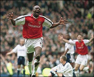 Vieira scores Arsenal's equaliser against Tottenham in their FA Cup semi-final at Old Trafford in April 2001
