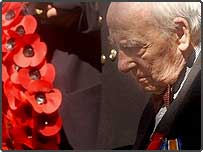 First World War veteran 108-year-old Henry Allingham, from Eastbourne, at the Cenotaph in London