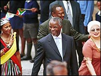 Thabo Mbeki walks into South Africa's Parliament