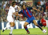 Ronaldinho in action this season