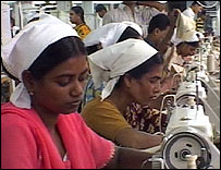 Women in Bangladesh garments factory