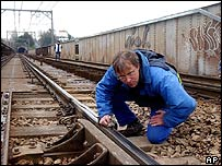 French worker checking rails