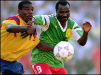 Cameroon's Roger Milla in action