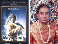 Poster for Naya Daur, starring Dilip Kumar (R)