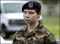 Pte Lynndie England arriving at the start of the four-day hearing