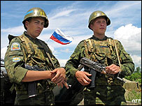 Russian soldiers stationed in South Ossetia, Georgia