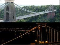 Clifton Suspension Bridge by day and night
