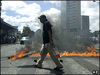 An anti-Chavez protester at a barricade in Caracas on 3 March