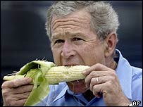 President Bush at a farmers' market on a visit to Davenport, Iowa