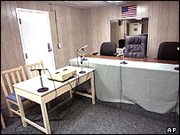 Room set up for tribunals at Guantanamo Bay
