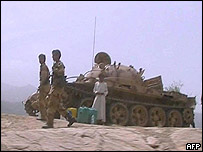 Yemeni troops engaged in the fight against Houthi's rebels