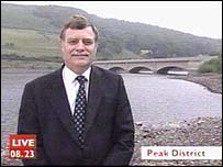 Pete Bowler of Waterwatch at a reservoir in Derbyshire