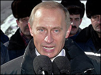 President Putin speaks to the media at an opening of a road and bridge in the far east of Russia