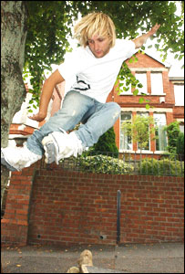 Richard Taylor skating in his home town of Barry