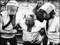 Arthur Scargill and two police officers at Orgreave, June 1984
