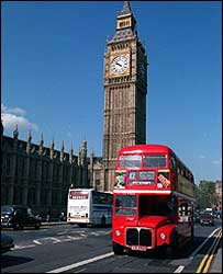 A Routemaster passes Big Ben
