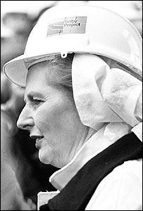 Margaret Thatcher visiting Wistow colliery, Yorkshire, in 1980.