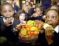 Children eating fruit