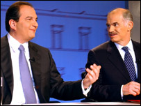 Costas Karamanlis (left) and George Papandreou (right), before a televised election debate
