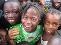 Smiling children at the school