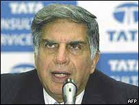 Tata Group Chairman Ratan Tata at press conference in Bombay