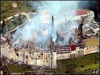 Hilandariou monastery on fire