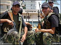 Armed Palestinian police officers in Gaza City