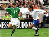 Roy Keane in action for the Republic of Ireland