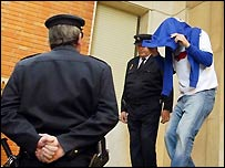 Unidentified Leicester player leaving for court on Friday