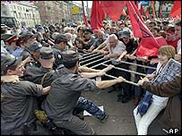 Clashes between police and communist protesters