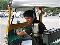 Sunita Choudhary with her rickshaw