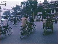 Rickshaw drivers in Delhi