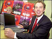 Tony Blair with a laptop